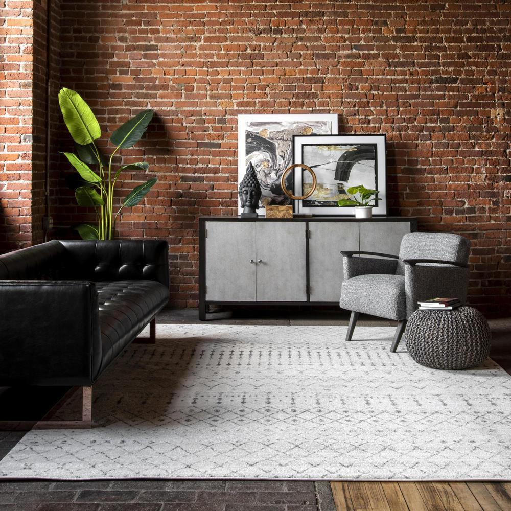 Blythe Modern Moroccan Trellis Gray 3 ft. x 5 ft. Area Rug