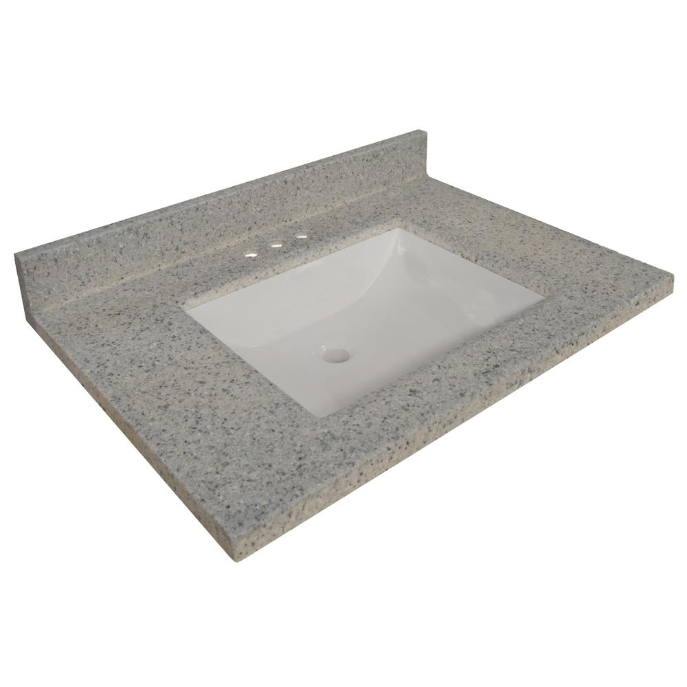 Design House 25 in. W Cultured Marble Vanity Top in Moonscape Grey with Solid White Basin