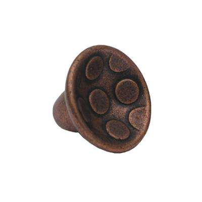1-1/4 in. Antique Copper Circular Inlay Cabinet Hardware Knob
