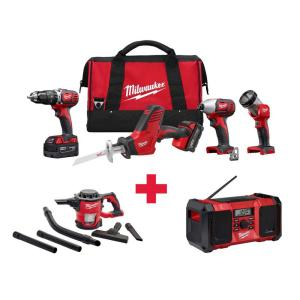 Milwaukee M18 18-Volt Lithium-Ion Cordless Combo Kit (4-Tool) with Free M18 Vacuum and M18 Radio by Milwaukee