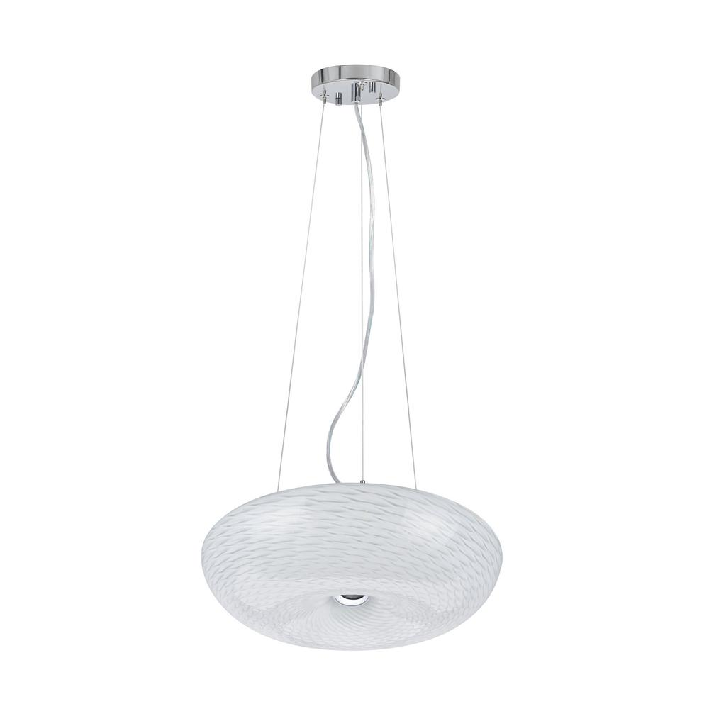 Aspen Creative Corporation 1-Light Integrated LED Chrome Pendant with Glass Shade