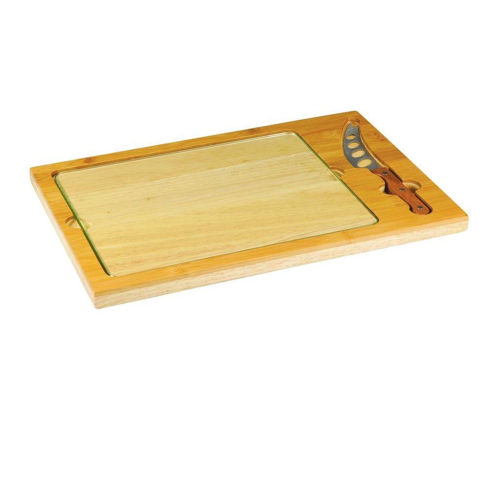 Legacy Icon 3 Piece Bamboo Cutting Board With Tray And Knife Set