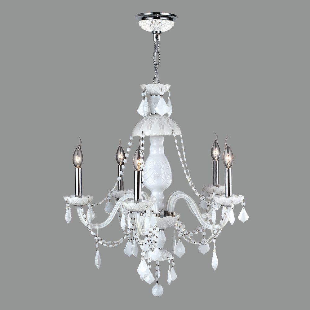Worldwide lighting provence collection 5 light polished chrome and worldwide lighting provence collection 5 light polished chrome and white crystal chandelier arubaitofo Gallery