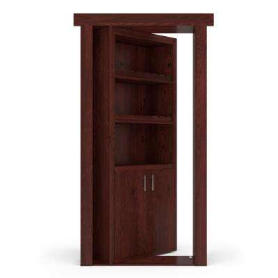 32 in. x 80 in. Flush Mount Assembled Alder Cherry Stained Right-Hand Outswing Wine Rack Door