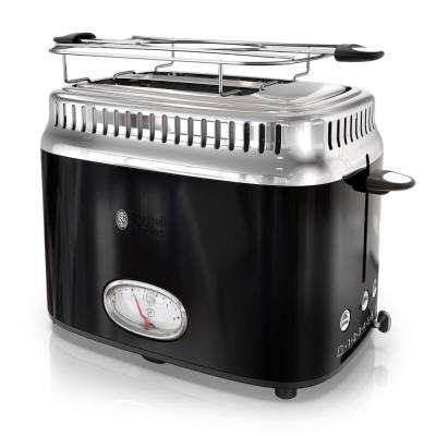Retro Style 2-Slice Black and Stainless-Steel Toaster