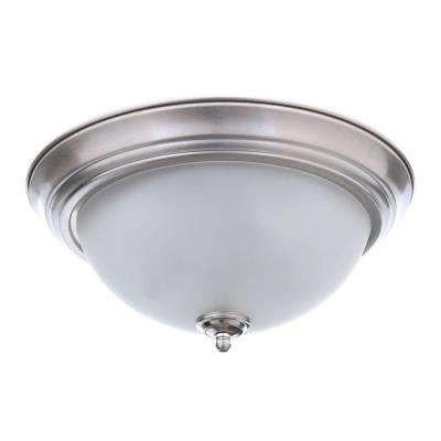 11 in. 1-Light Brushed Nickel Flushmount with Frosted Glass Shade (2-Pack)