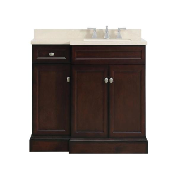 Home Decorators Collection Teagen 36 In W Bath Vanity In Dark Espresso With Cultured Stone Vanity Top In Beige With White Basin Teagen 36eb R The Home Depot