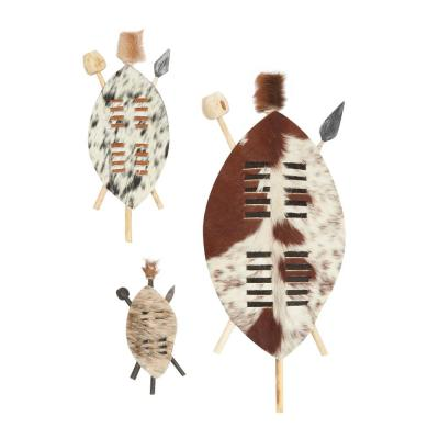 LITTON LANE Large Pointed Oval Natural Wood and Nguni Skin Zulu Shields (Set of 3)