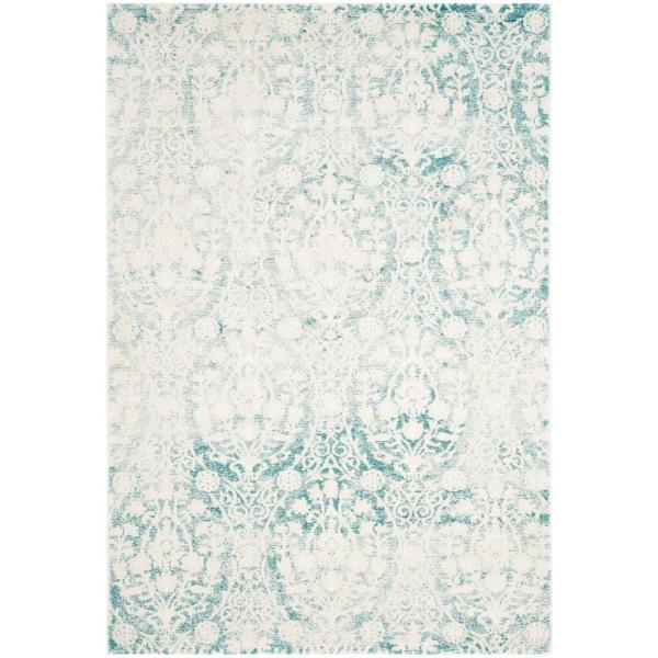 Passion Turquoise/Ivory 4 ft. x 6 ft. Area Rug