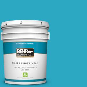 Behr Premium Plus 5 Gal P480 5 High Dive Satin Enamel Low Odor Interior Paint And Primer In One 740005 The Home Depot