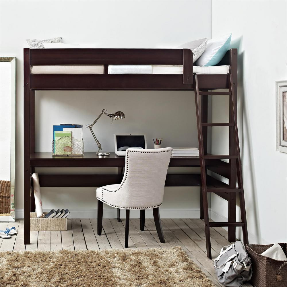 Dorel Living Georgetown Transitional Twin Loft Bed Frame with Desk ...