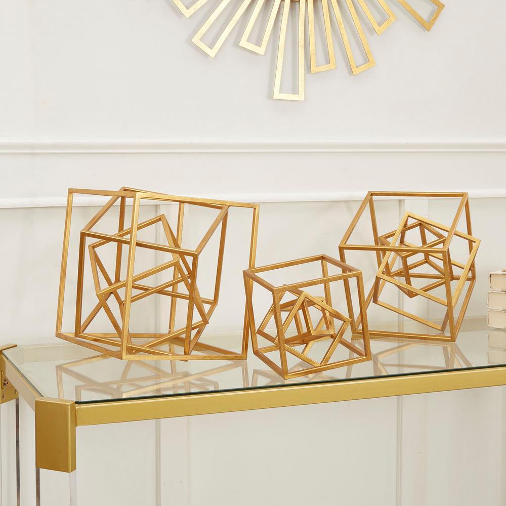 Dimensional Decorative Cube Metal Cube  (Set of 3)
