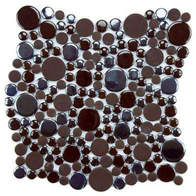 Cosmo Bubble Brown 11-1/4 in. x 12 in. x 8 mm Porcelain Mosaic Tile