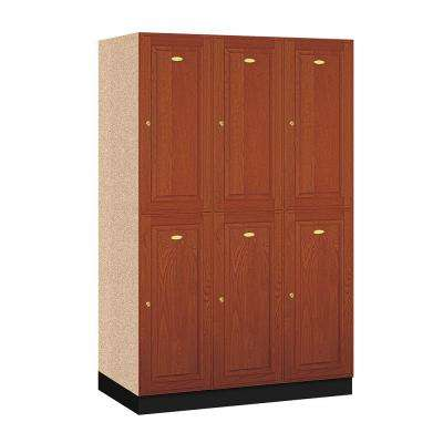 12000 Series 48 in. W x 76 in. H x 21 in. D 2-Tier Solid Oak Executive Locker in Medium Oak