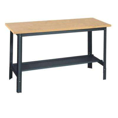 33 in. H x 72 in. W x 24 in. D Wooden Top Workbench with Shelf