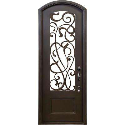 40 in. x 97.5 in. Eyebrow St. Lucie Dark Bronze 3/4 Lite Painted Wrought Iron Prehung Front Door (Hardware Included)