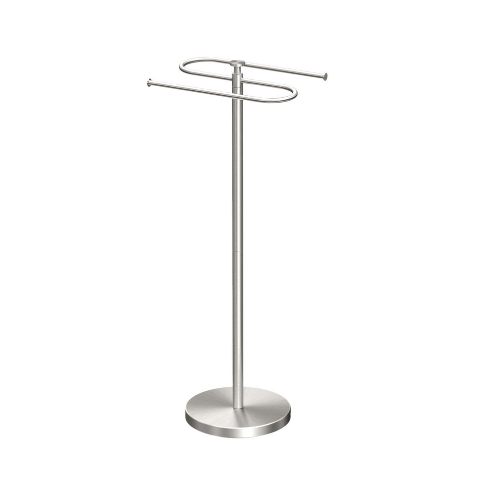 Gatco Modern Floor Standing Towel Holder In Satin Nickel 1501 The