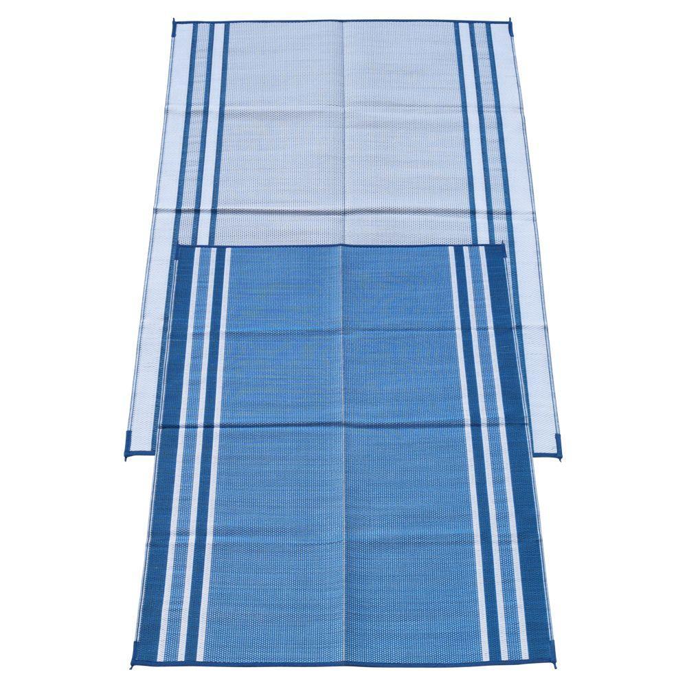 Hawaiian Blue 6 ft. x 9 ft. Polypropylene Indoor/Outdoor Reversible Patio/RV Mat