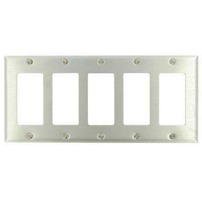 5-Gang Decora Wall Plate, Stainless Steel