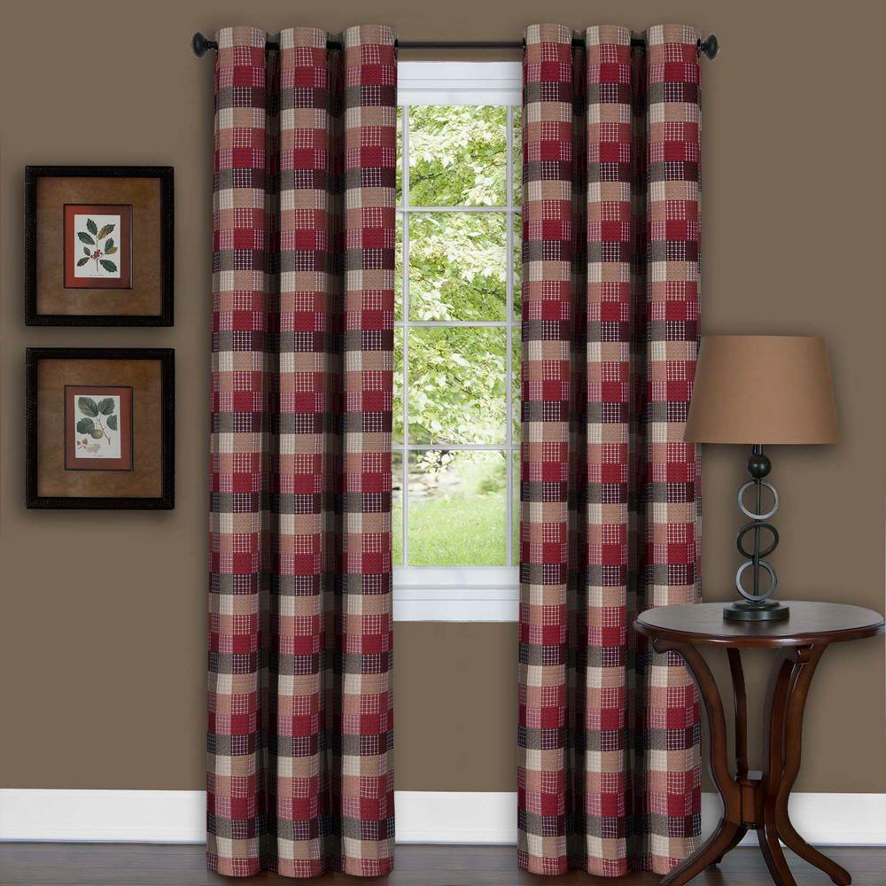 Harvard Burgundy Window Curtain Panel W 6 Grommets 42 In X 63 L