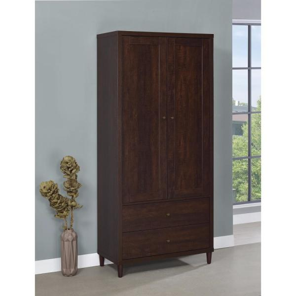 Brown Tall Wooden Accent Cabinet