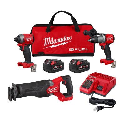 M18 FUEL 18-Volt Lithium-Ion Brushless Cordless Combo Kit with Two 5 Ah Batteries, Charger and Tool Bag (3-Tool)