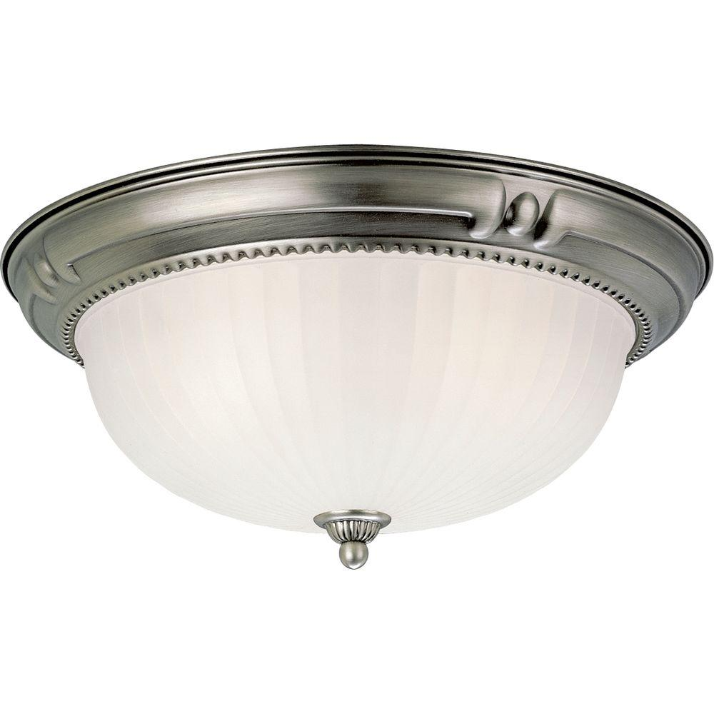 Progress Lighting Huntington Collection Antique Nickel 3-light Flushmount-DISCONTINUED
