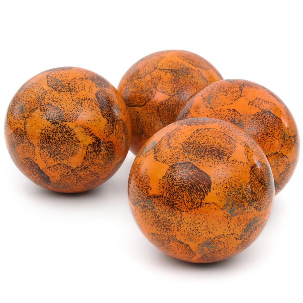 Oriental Furniture 4 in. Sponged Light Orange Porcelain Ball Set