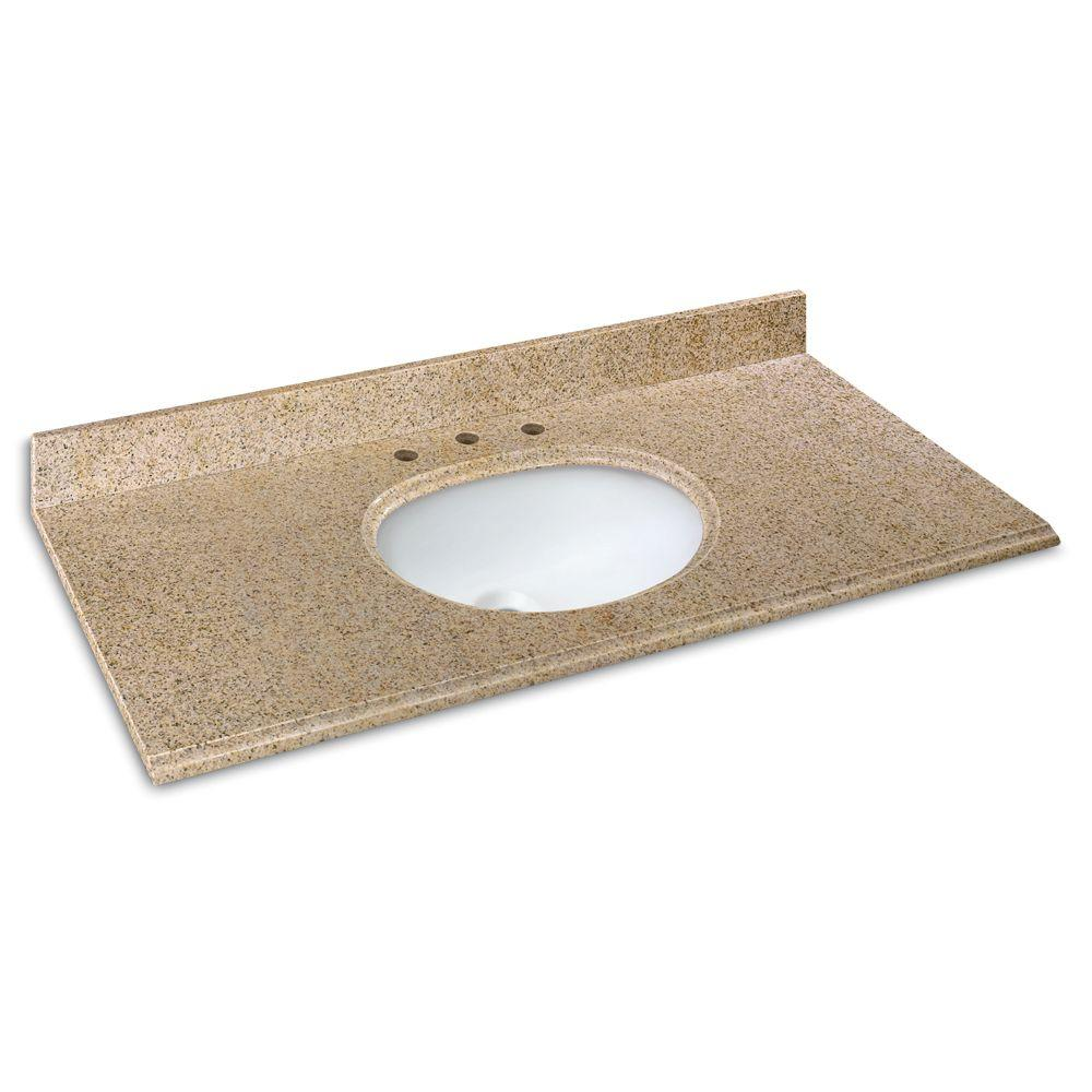 Granite Vanity Tops Product : Pegasus in w granite vanity top beige with white