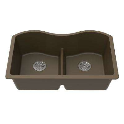Undermount Granite Composite 33 in. x 20 in. x 9-1/2 in. Double Equal Bowl Low Divide Kitchen Sink in Mocha