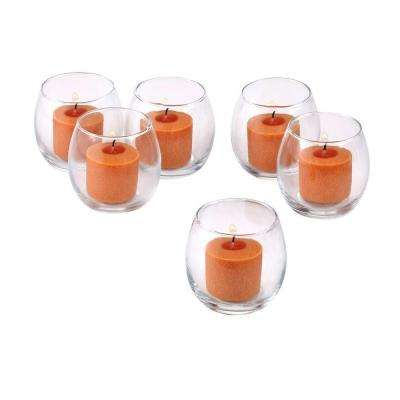 Clear Glass Hurricane Votive Candle Holders with Orange Votive Candles (Set of 12)