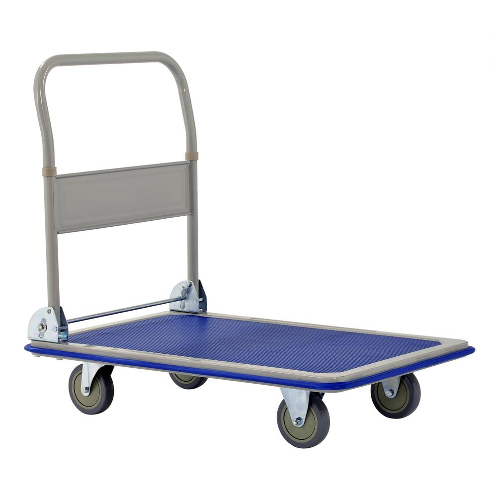 Blue Colour Push Cart Dolly by Wellmax Hand Truck 360-degree Swivel Wheels Foldable for Easy Storage Functional Moving Platform 660lb Weight Capacity