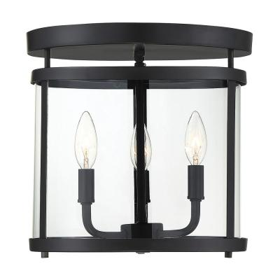 12.5 in. 3-Light Black Semi-Flush Mount