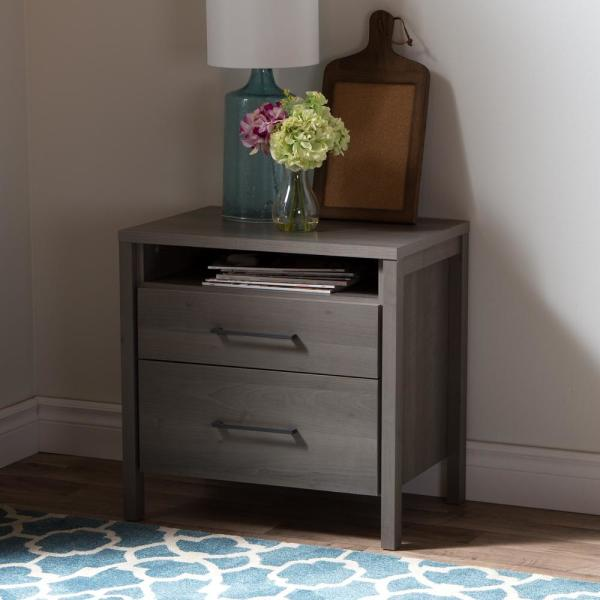 South Shore Gravity 2-Drawer Gray Maple Nightstand 9036060