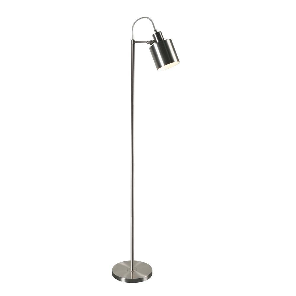 Kenroy Home Focus 57 in. Brushed Steel Floor Lamp with Steel Shade
