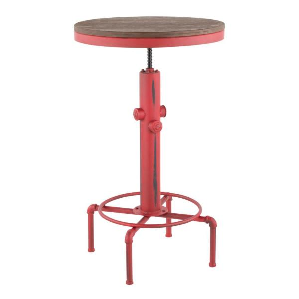 Hydra Adjustable Industrial Red and Brown Bar Table
