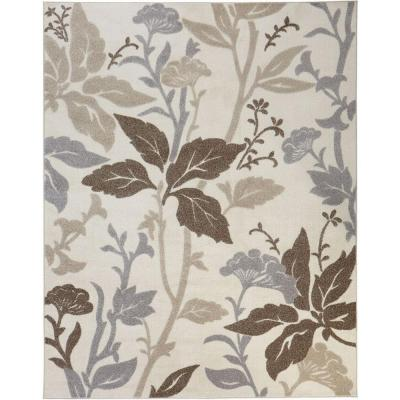 Blooming Flowers Ivory 5 ft. x 7 ft. Area Rug