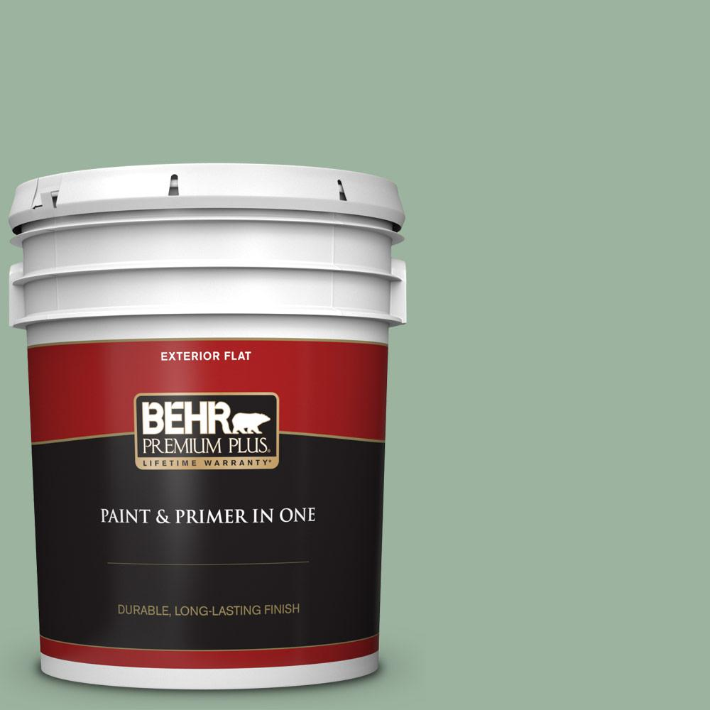 Behr Premium Plus 5 Gal S410 4 Copper Patina Flat Exterior Paint And Primer In One 440005 The Home Depot