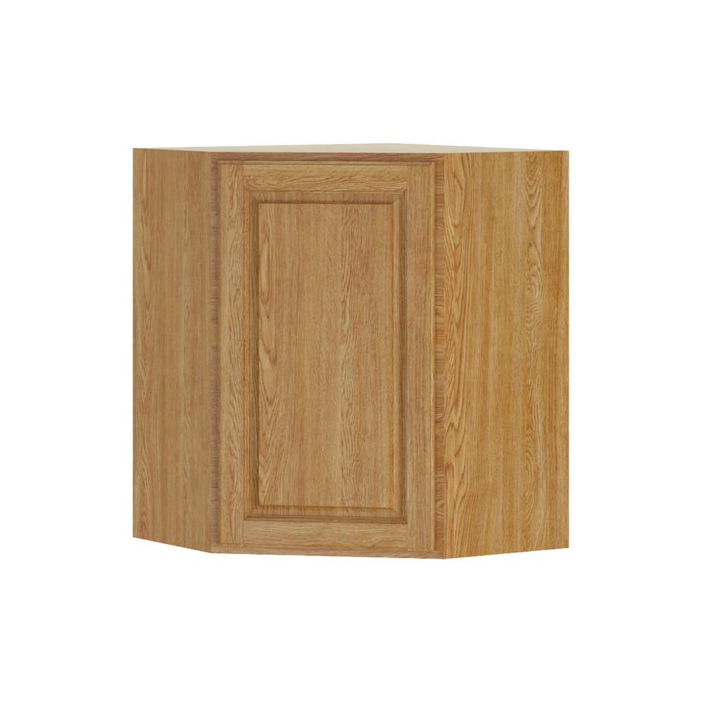Hampton Bay Madison Assembled 24x30x24 In Corner Wall Cabinet In Medium Oak Wcd242430 Mmo The