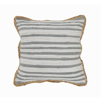 Kind Gray and White Jute Border Striped Textured Poly-Fill 18 in. x 18 in. Throw Pillow