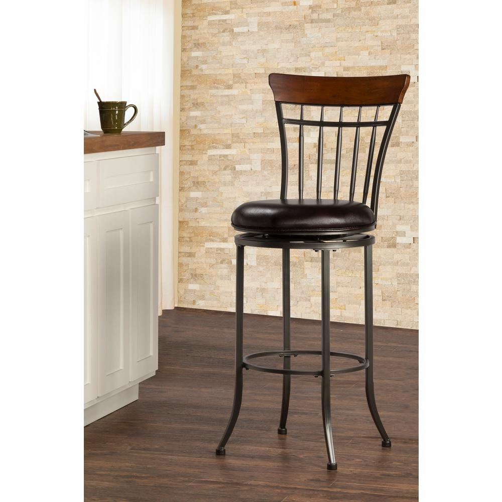 Hillsdale Furniture Cameron 30 in. Chestnut Brown Swivel Cushioned Bar Stool