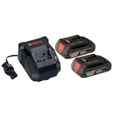 18-Volt Lithium-Ion Compact Battery Pack 2.0Ah (2-Pack) and Charger Starter Kit
