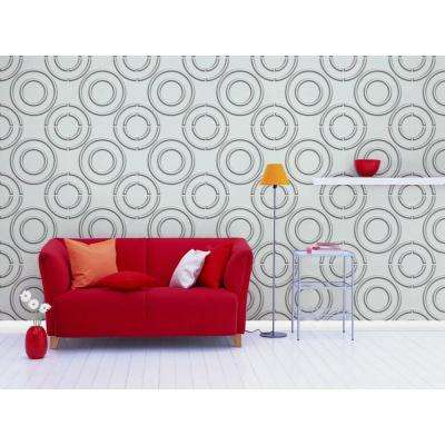 19.6 in. x 19.6 in. Self-Stick Circles Pattern 3D Decorative Wall Tile in White (10-Pack)