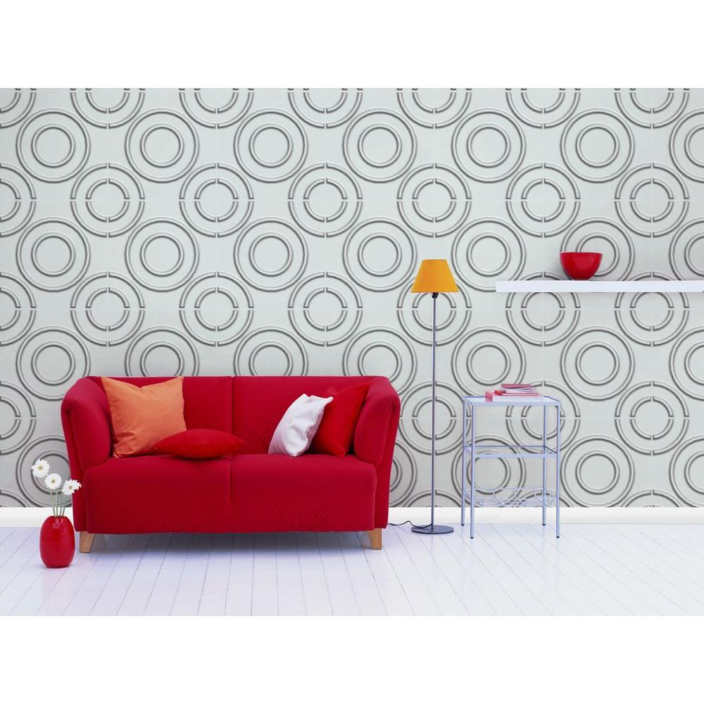 19.6 in. x 19.6 in. Self-Stick Circles Pattern 3D Decorative Wall