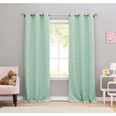"""Print Seafoam Polyester Blackout Pole Top Window Curtain 38 in. W x"""" 84 in. L 2-Pack"""