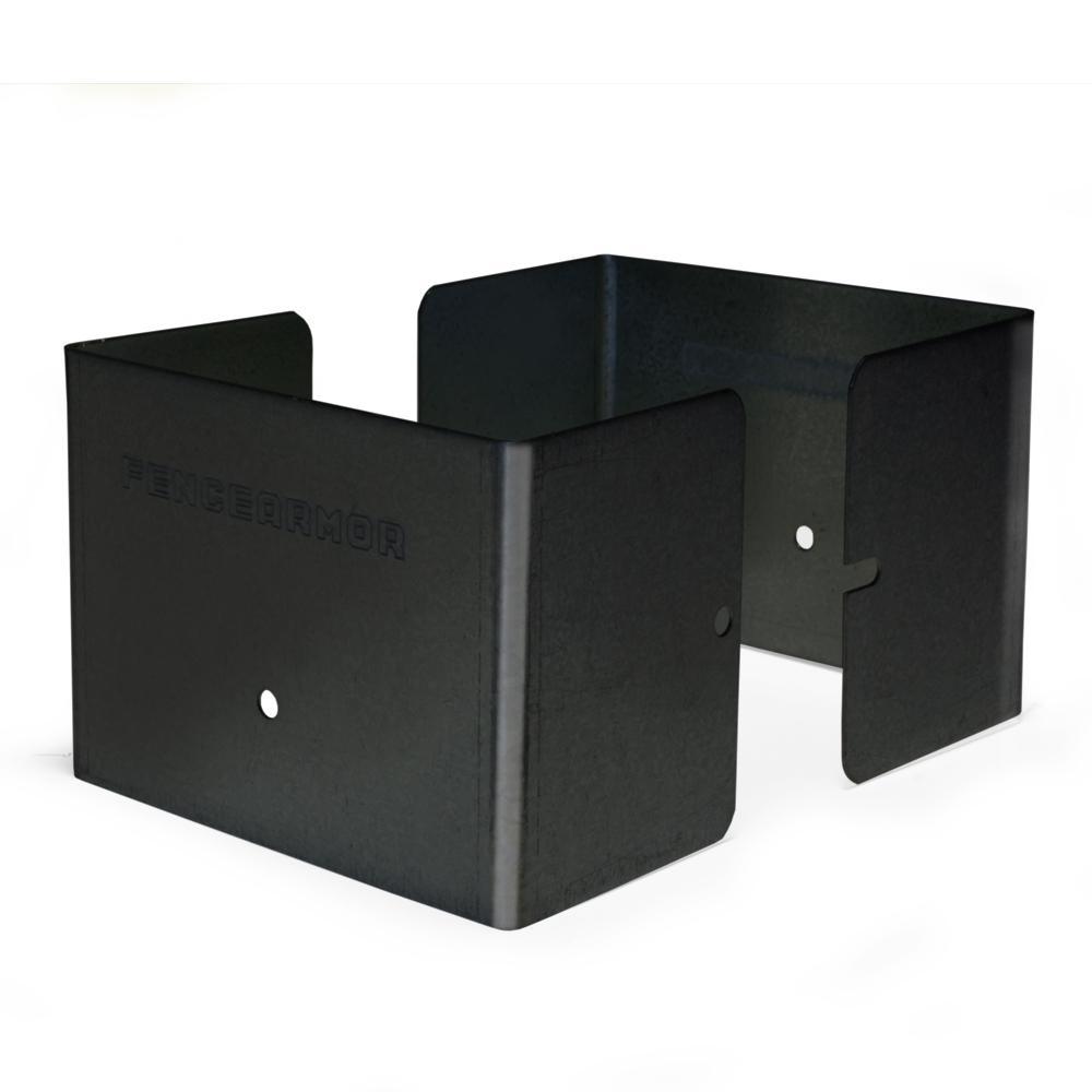 4 in. L x 4 in. W x 1/4 ft. H Black Fence Post Guard for Wood or Vinyl