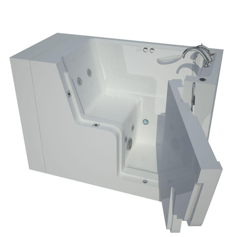 Universal Tubs 4.5 ft. Right Drain Wheel Chair Accessible Whirlpool Bath Tub in White