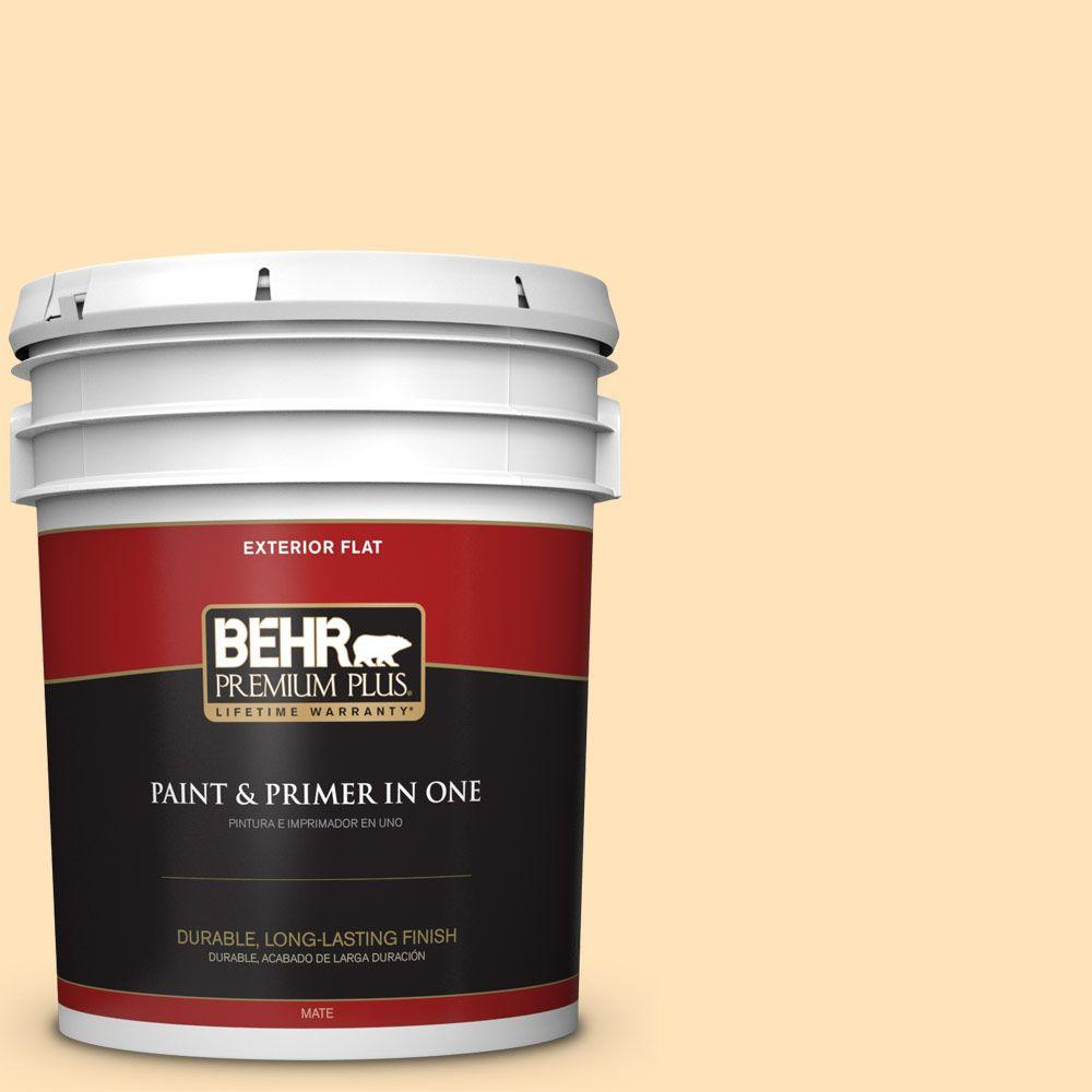 5-gal. #ICC-91 Lemon Whip Flat Exterior Paint