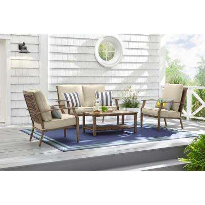 Geneva 4-Piece Steel Woven Outdoor Patio Conversation Deep Seating Set with Oatmeal Cushions