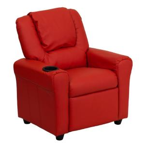 Contemporary Red Vinyl Kids Recliner with Cup Holder and Headrest  sc 1 st  The Home Depot & Flash Furniture Contemporary Hot Pink Vinyl Kids Recliner with Cup ... islam-shia.org